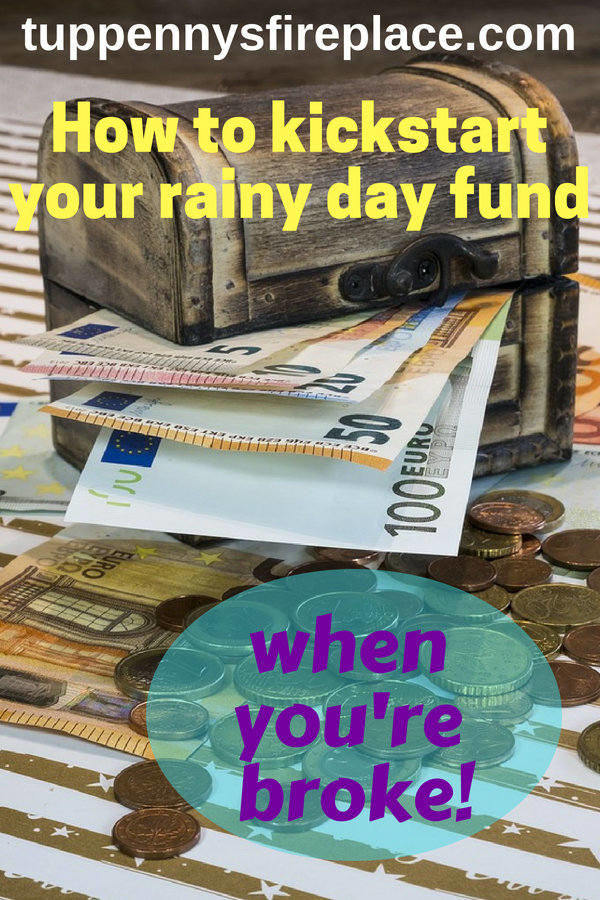 How to kickstart your rainy day fund when you are broke. Save cash into an emergency fund and you will stress less about your money. Emergency cash covers your unexpected bills and having those savings is key to getting your finances in order. #emergencyfund #rainydayfund #savemoney #stressless #finances #personalfinance #savingmoney #budgettips #budget #savecash #emergencycash