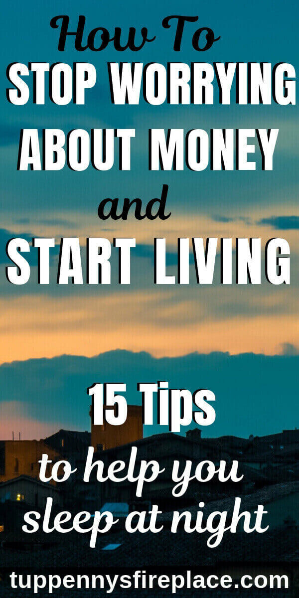 pinterest image of how to stop worrying about money with night sky scene