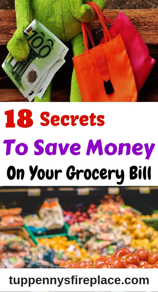 Secret ways to save big on your food shopping list. Slash your grocery bill by cutting out these 18 items and watch your savings grow instead. #foodshopping #grocerybill #savemoney #tuppennysfireplace #budgeting #savingmoney #grocerylist