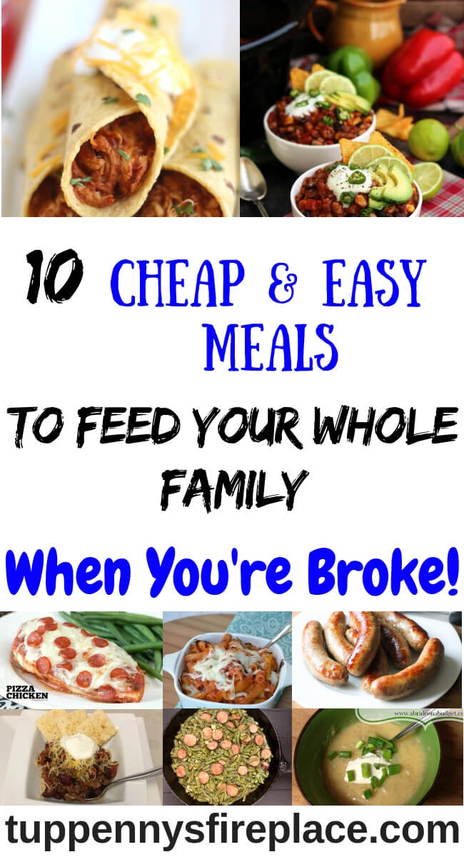 Tasty super cheap and easy meals that won't break your budget. Crock pot and 3 ingredient recipes along with vegetarian and low carb. #budgetfood #easycheapmeals #cheapdinners #cheapdinnerideas #frugalmeals