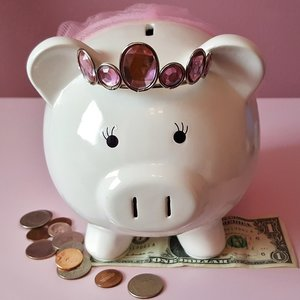 save money with a piggy bank