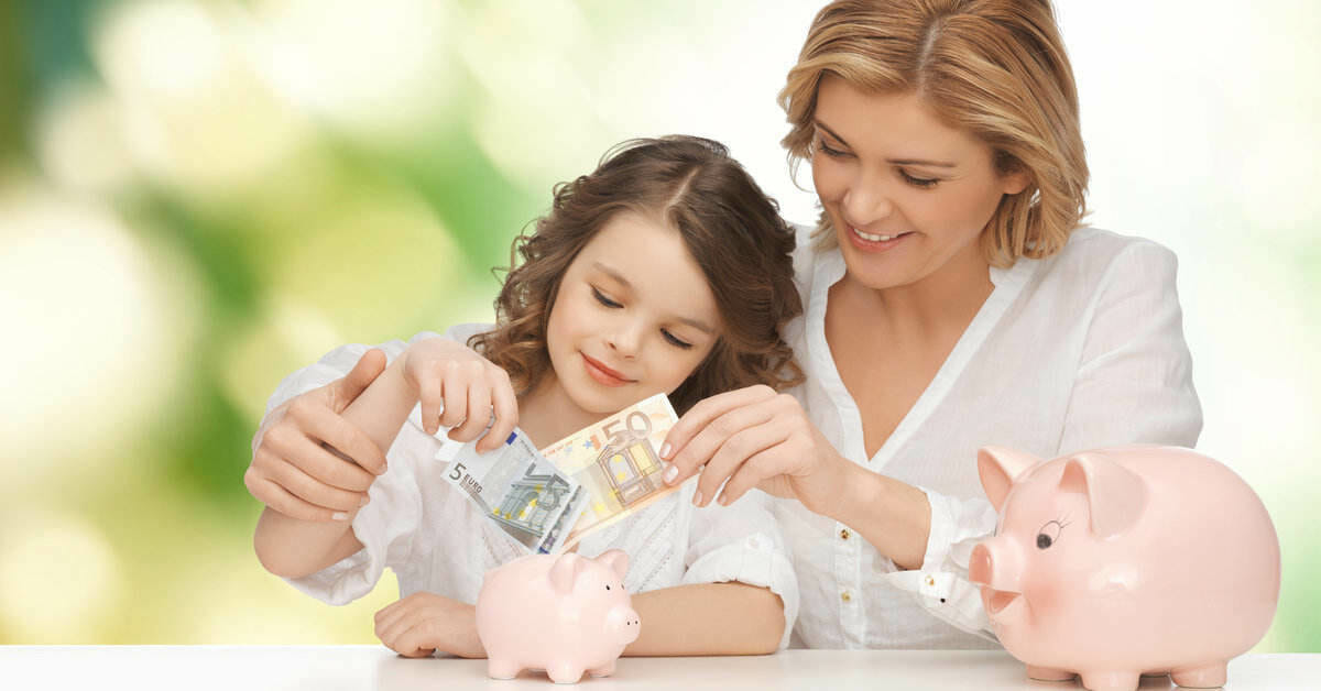 mother and daughter checking out theri money