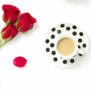 roses and cup of tea