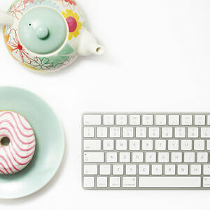 keyboard donut and teapot