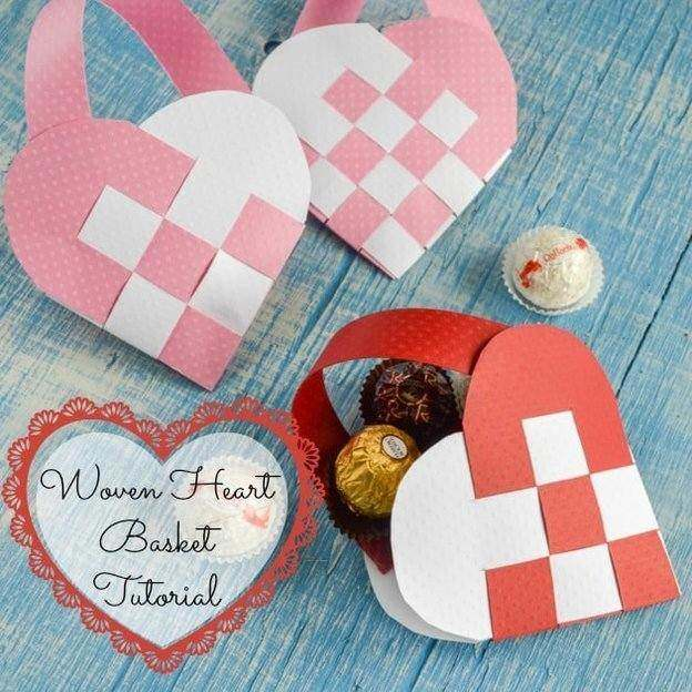 woven paper baskets with chocolates