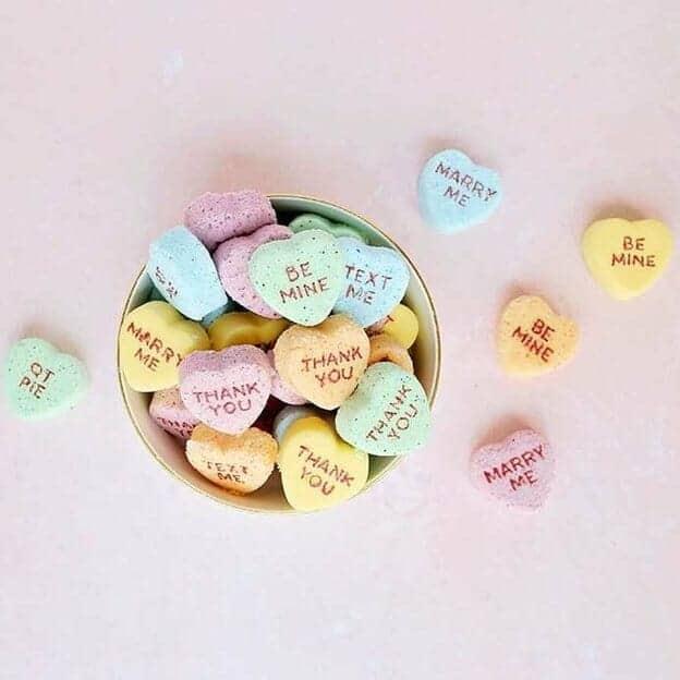 heart shaped mini bath bombs