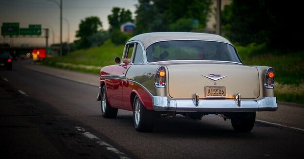 1950s car on the road