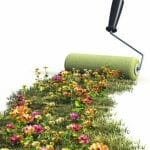 paintbrush and carpet of flowers depicting hobbies