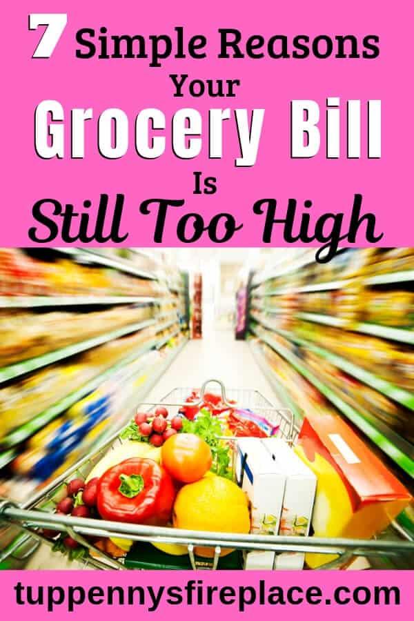 supermarket trolley in aisle (grocery bill)