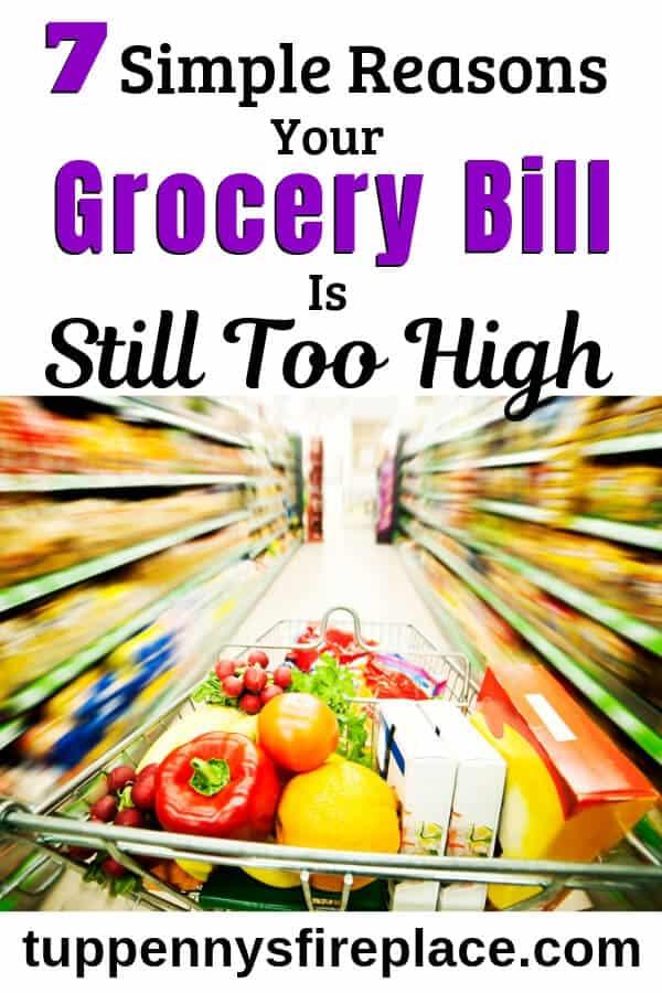 supermarket trolley in store aisle (grocery bill)