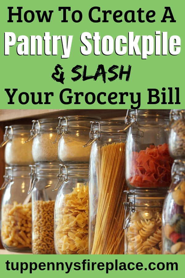 glass jars with dry goods in (how to stockpile food on a budget)