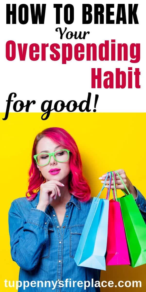 how to stop spending money - pinterest image of girl holding shopping bags