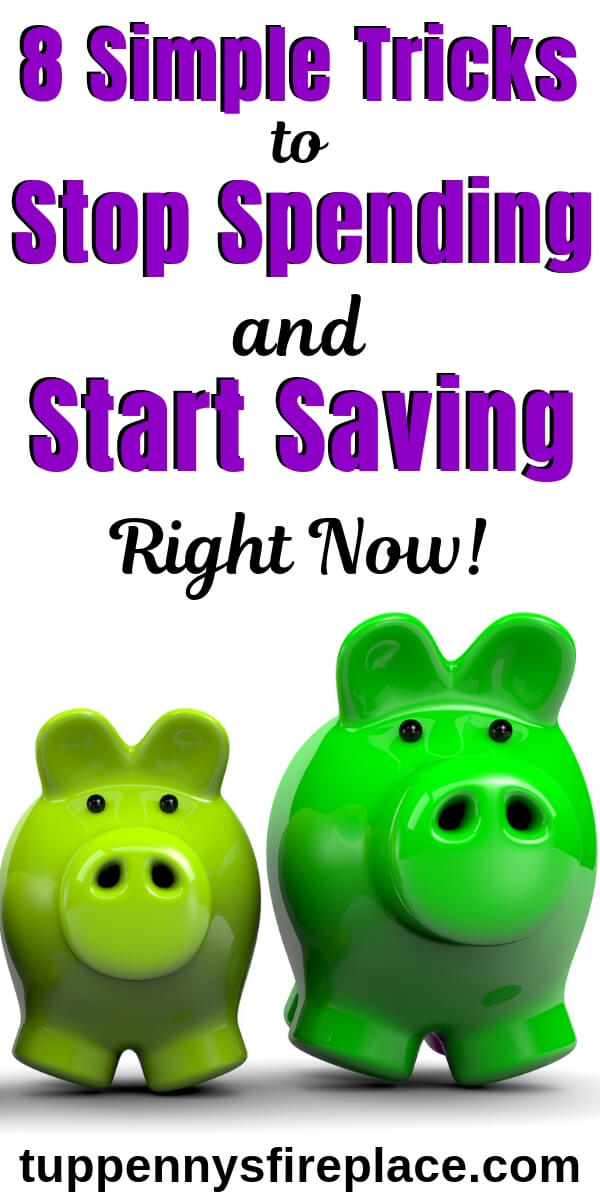 how to stop spending money - pinterest image of 2 green piggy banks