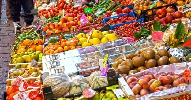 market stall of fresh vegetables