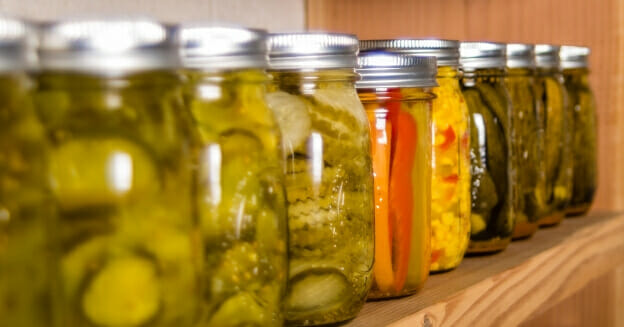 Shelfof preserved foods in jars