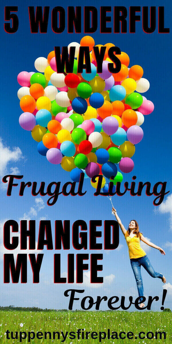 pinterest image of woman holding lots of balloons - being frugal