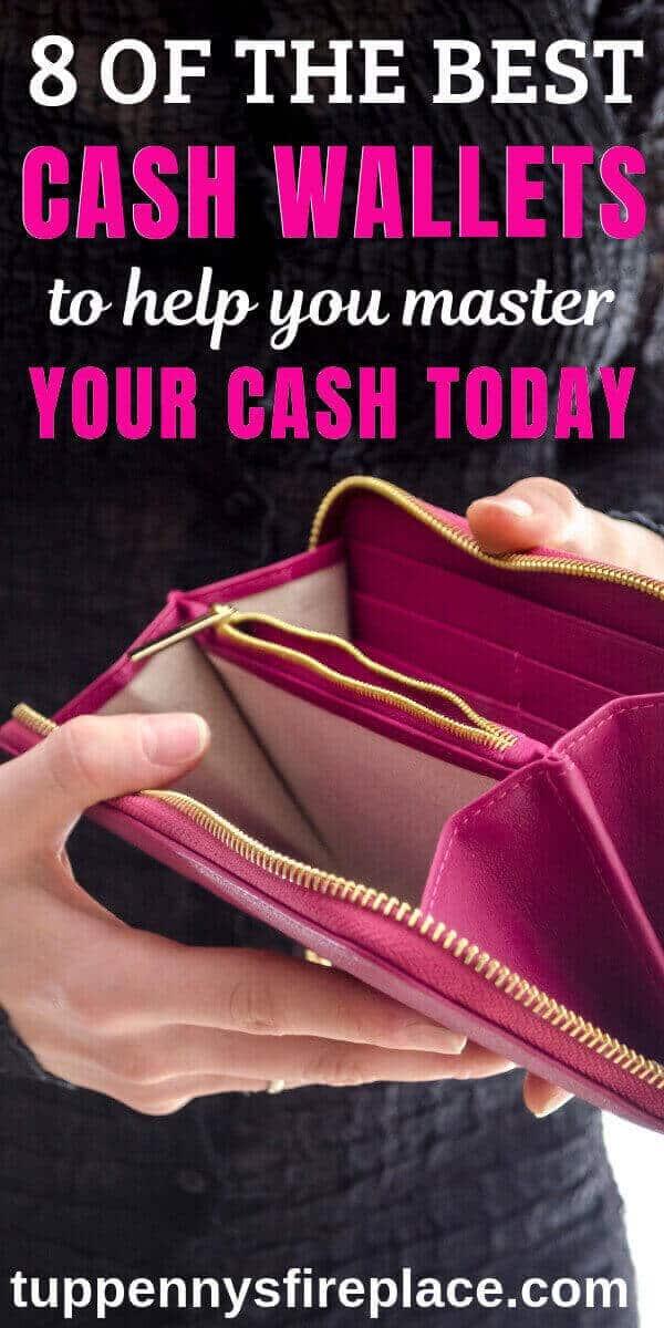 pinterest image of woman holding open empty cash envelope wallet