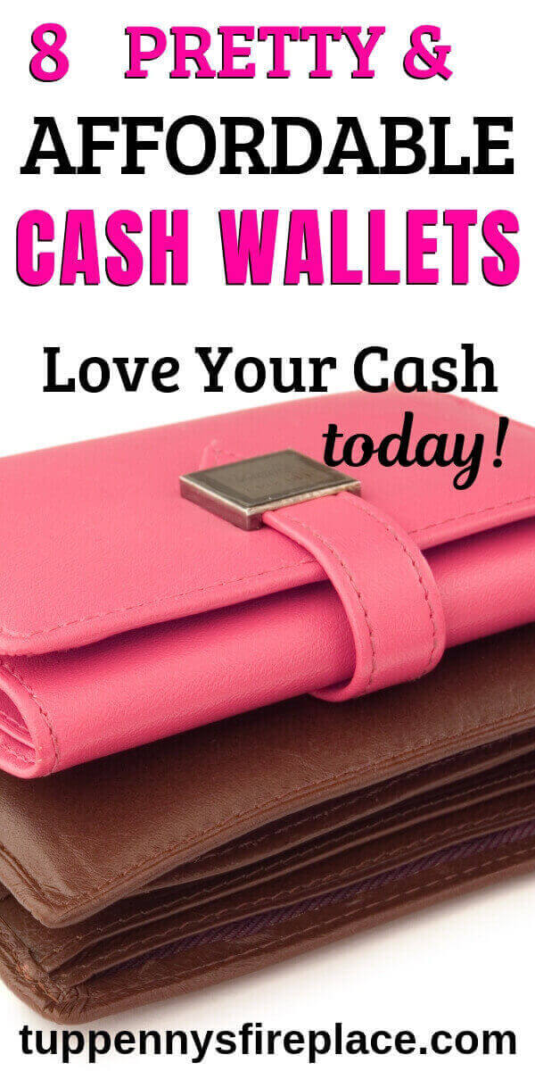 pinterest image of a pink and brown closed cash envelope wallet