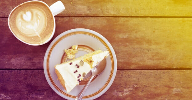 slice of cake and coffee - how to reduce food waste