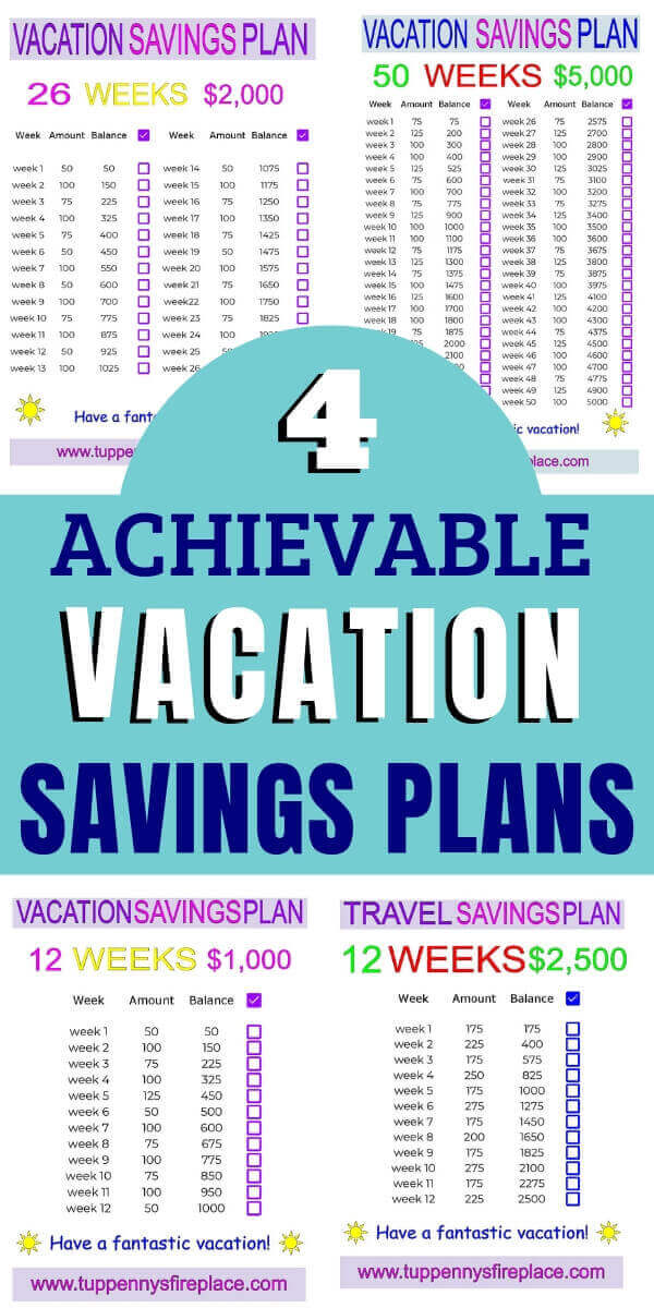 pinterest image of 4 vacation savings plan