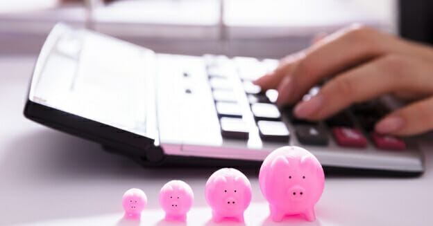 woman using large calculator with 4 small pink plastic pigs